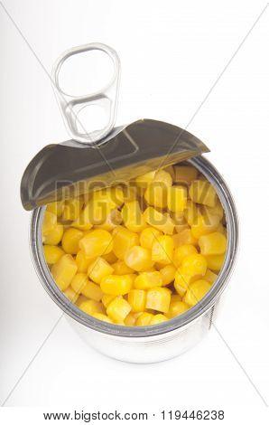 Open Metallic Tin With Sweet Corn