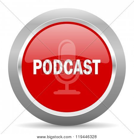 podcast red chrome web circle glossy icon