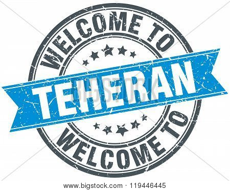 welcome to Teheran blue round vintage stamp