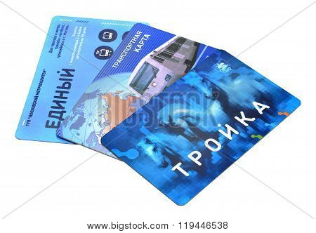Moscow magnetic travel public transport tickets with the fixed cost closeup