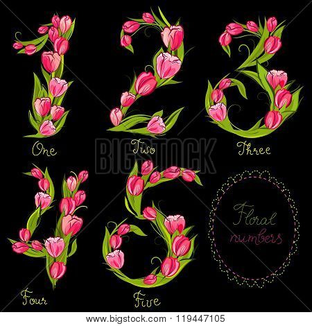Set of cute decorative numbers