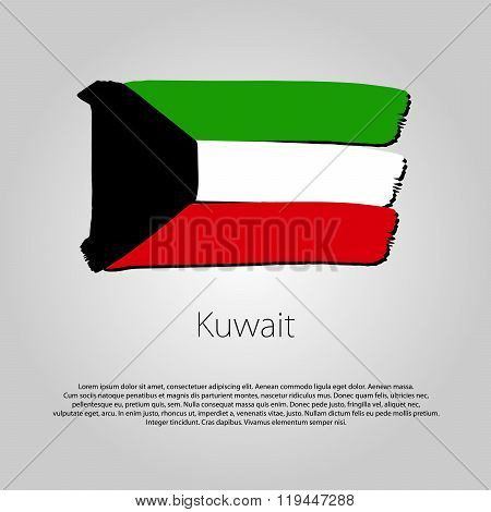 Kuwait Flag With Colored Hand Drawn Lines In Vector Format