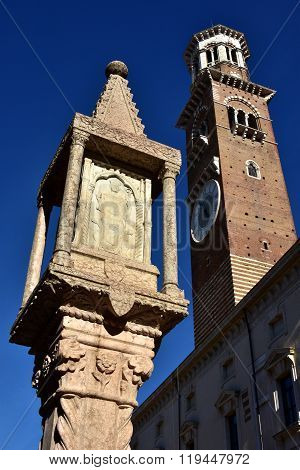 Saint Zeno Of Verona Shrine And Torre Dei Lamberti In Verona