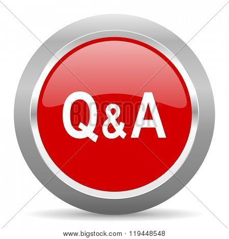 question answer red chrome web circle glossy icon