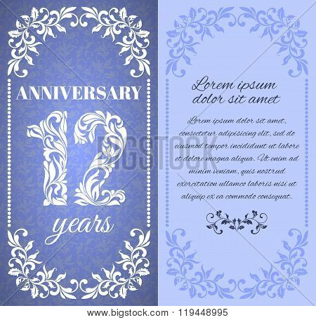 Luxury Template With Floral Frame And A Decorative Pattern For The 12 Years Anniversary. There Is A