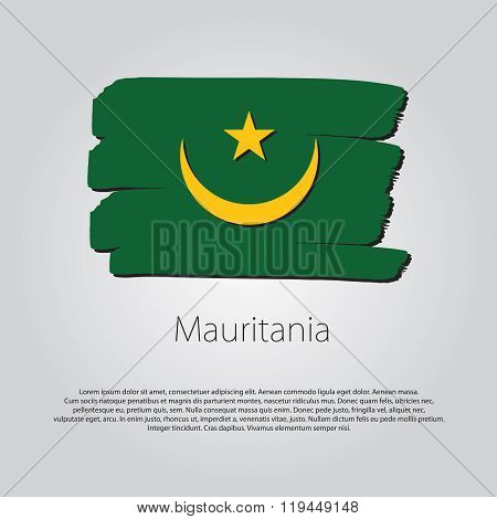 Mauritania Flag With Colored Hand Drawn Lines In Vector Format