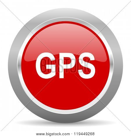 gps red chrome web circle glossy icon