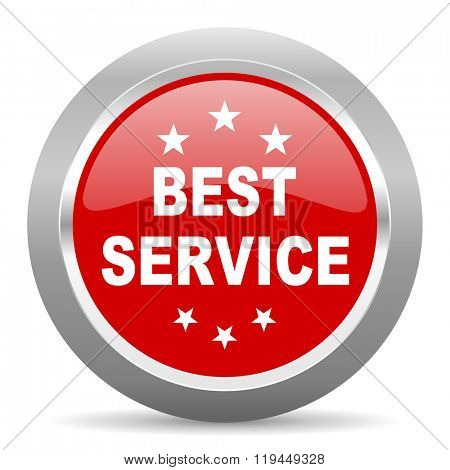 best service red chrome web circle glossy icon
