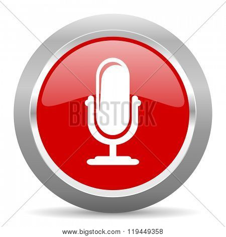 microphone red chrome web circle glossy icon