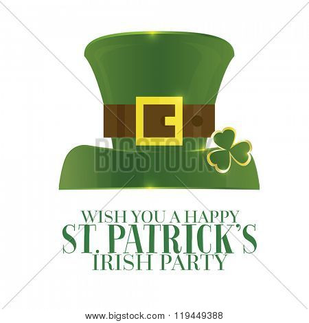 Typographic Saint Patrick's Day Retro Background with Green Hat. Vector illustration. Template for party flyers. St. Patrick's Day poster isolated on white.