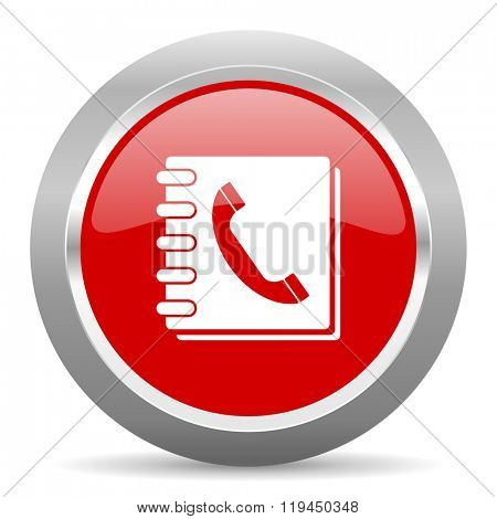phonebook red chrome web circle glossy icon