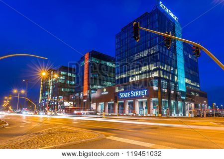 GDANSK, POLAND - FEBRUARY 23, 2016: Modern buildings architecture of Alchemia complex in Gdansk, Poland. Alchemia is a modern building with 80 000 squere meters of office space located in Gdansk.
