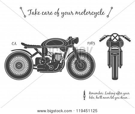 Vintage motorcycle infographic. Cafe racer theme.