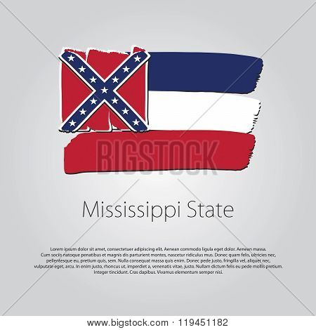 Mississippi State Flag With Colored Hand Drawn Lines In Vector Format