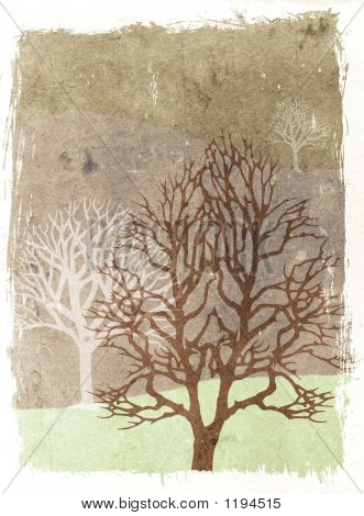 Grunge Trees Illustration - Autumn