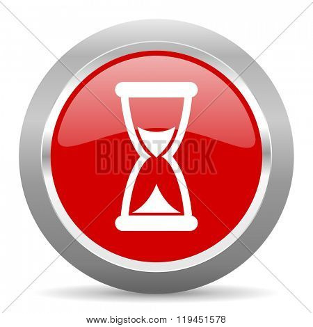 time red chrome web circle glossy icon