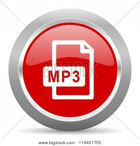 mp3 file red chrome web circle glossy icon