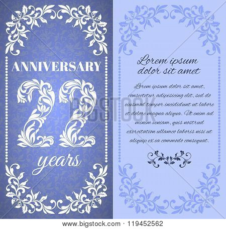 Luxury Template With Floral Frame And A Decorative Pattern For The 22 Years Anniversary. There Is A