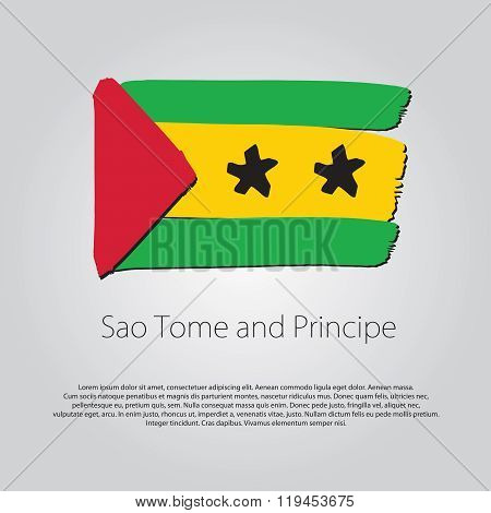 Sao Tome And Principe Flag With Colored Hand Drawn Lines In Vector Format