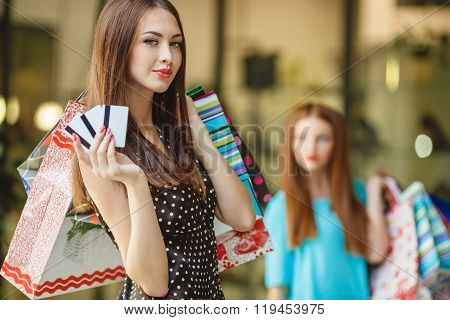Portrait of a young woman holding shopping bags and a credit card.