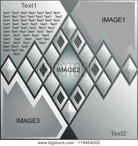 Rhomboid design layout template design brochure flyer magazine cover poster. Vector 3D. Color silver
