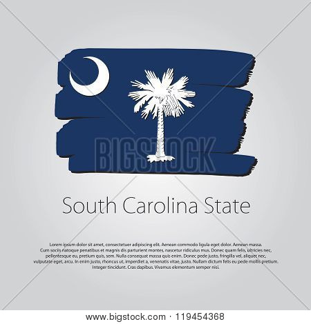 South Carolina State Flag With Colored Hand Drawn Lines In Vector Format