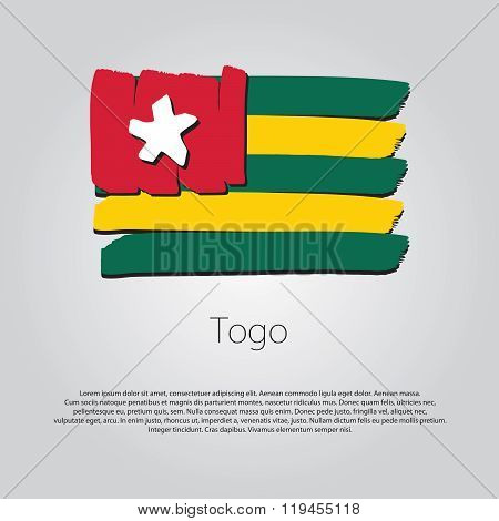 Togo Flag With Colored Hand Drawn Lines In Vector Format