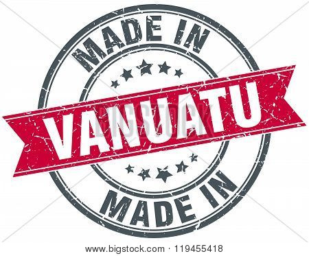 made in Vanuatu red round vintage stamp