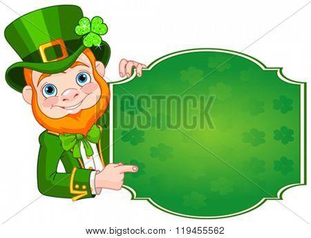 Illustration of St. Patrick's Day Leprechaun holds sign