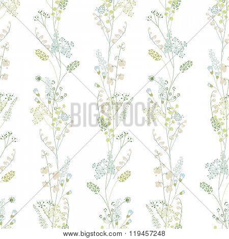 Floral seamless pattern with green herbs. Endless texture for romantic  design, decoration,  greeting cards, posters,  invitations, advertisement.