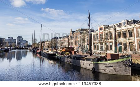 Old Ships At A Canal In Leeuwarden