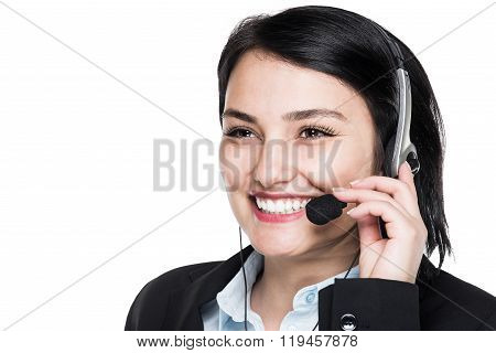 Support phone call center operator in headset