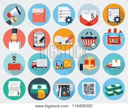 Ecommerce and Logistics icon set