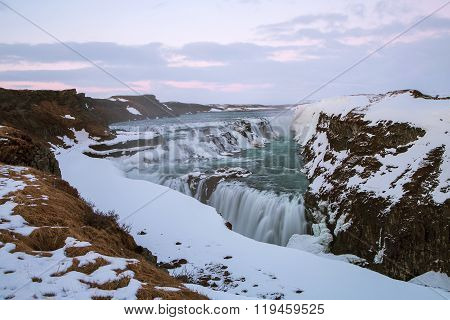 Waterfall Gullfoss In Iceland, Long Time Exposure