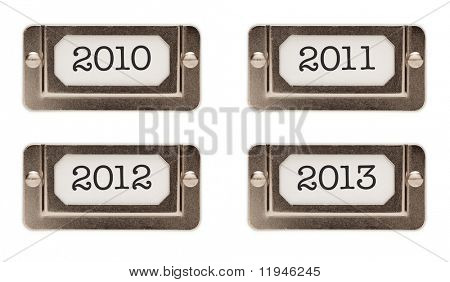 2010, 2011, 2012, 2013 File Drawer Labels Each Isolated on a White Background.