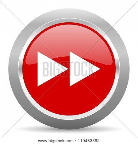 rewind red chrome web circle glossy icon