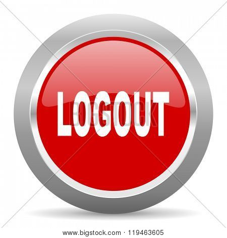 logout red chrome web circle glossy icon