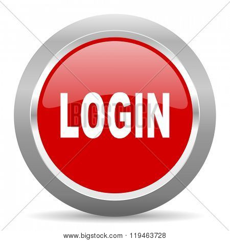 login red chrome web circle glossy icon