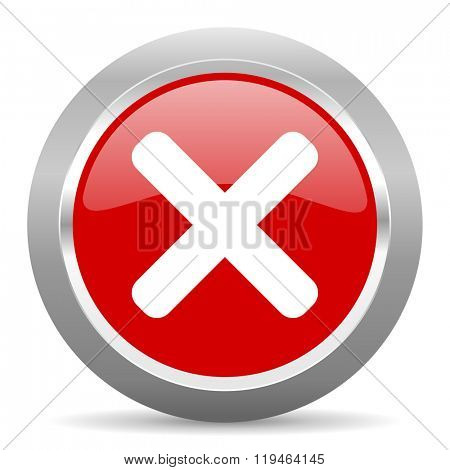 cancel red chrome web circle glossy icon