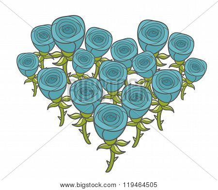 Heart shape bunch of blue roses.