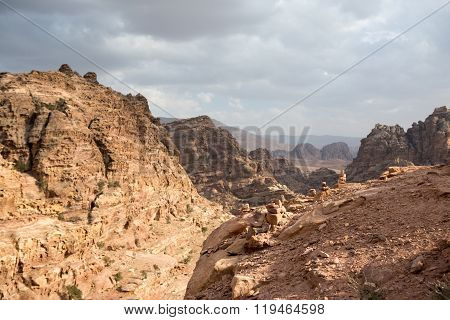 View of the mountains near the city Petra Jordan