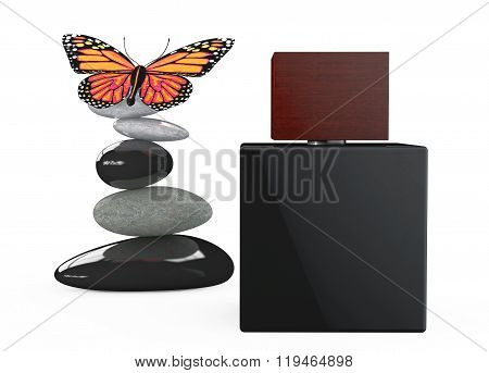 Black Perfume Spray Bottle With Butterfly Over Balanced Stones
