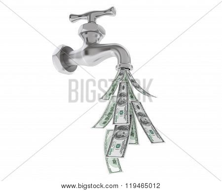 Dollar Bills Coming Out From Chrome Water Tap On A White