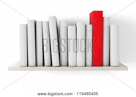 Red Book On A Shelf With Another Blank Books