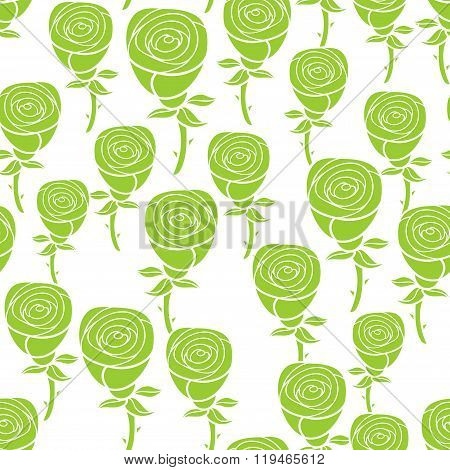 Seamless pattern with green flowers.