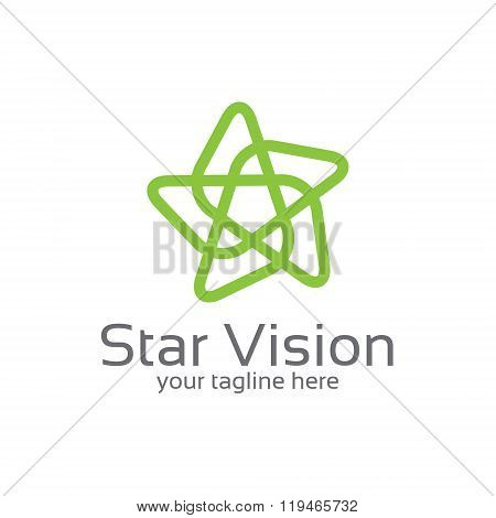Star Connected Loop Abstract Logo Design Template. Simple Star Logo Design.