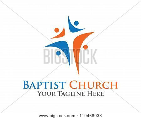 Abstract Christian Cross Logo Design Vector Template. Baptist Chruch Symbol Vector Design Template.