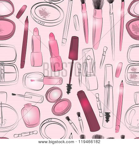 Makeup And Beauty Product Seamless Pattern In Red And Pink.