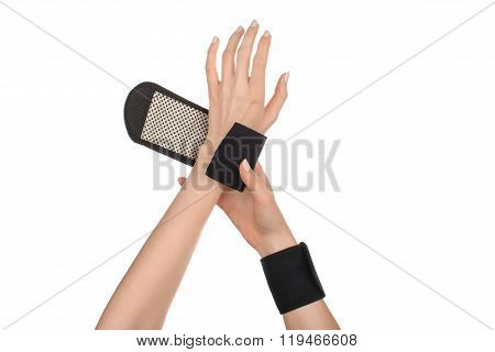 Female Hands Wearing Sports, Medical Wristbands