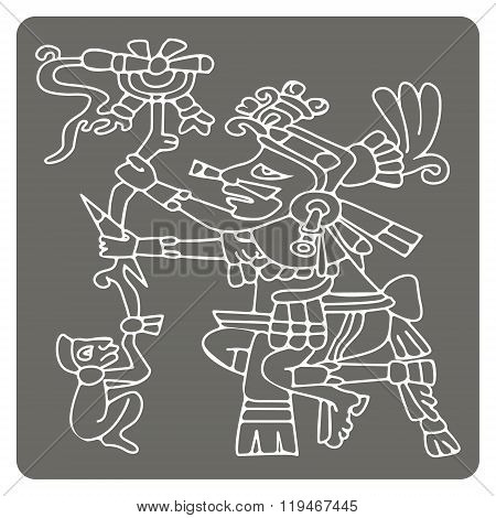 monochrome icon with symbols from Aztec codices